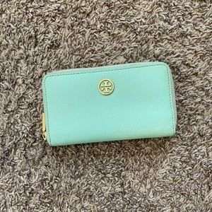 Tory Burch Tiffany Blue Wallet Gold Accent